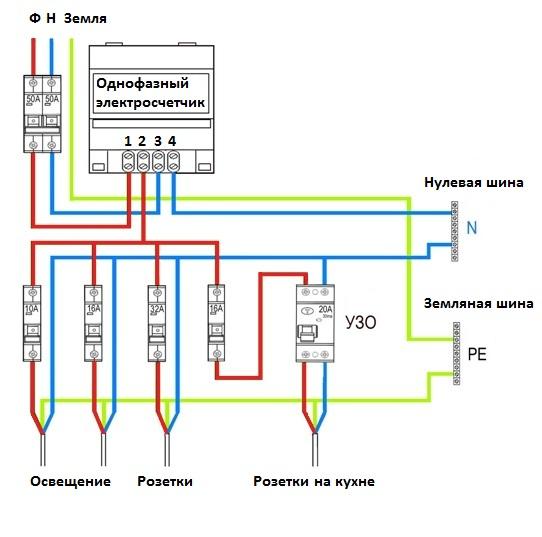 Схема подключения однофазного электросчетчика Меркурий 230