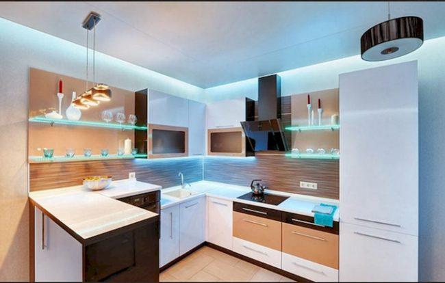 Идеи светового дизайна маленькой кухни