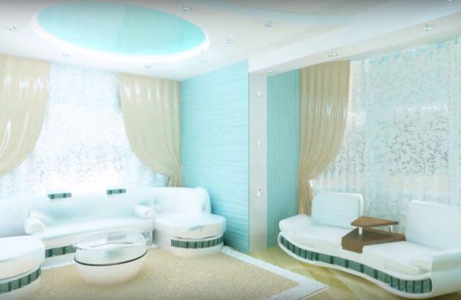 дизайн гостиной в бирюзовом цвете