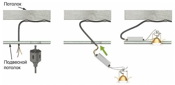схема монтажа светильников встраиваемых
