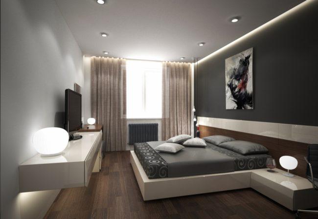 Спальня с матовым потолком