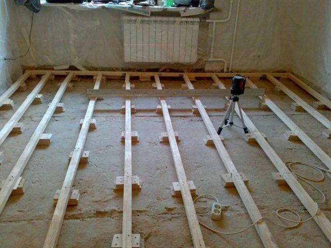 Выравнивание с помощью деревянных брусков
