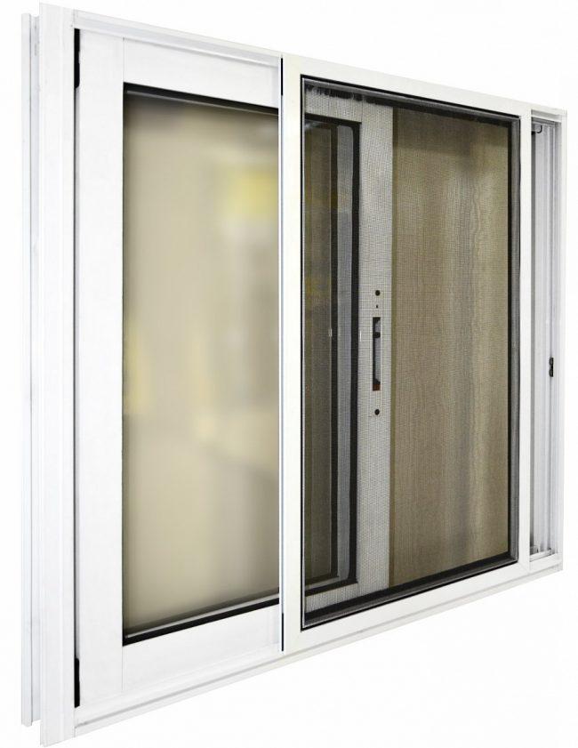 раздвижное окно с москитной сеткой