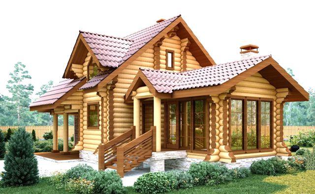 деревянныq дом из бревна