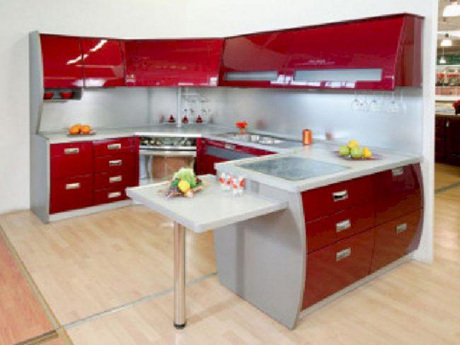 кухонная мебель в красном цвете