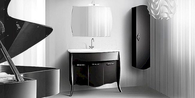 черная мебель в ванной комнате
